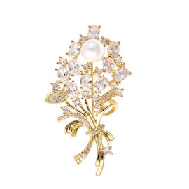 Simulated Diamond and Shell Pearl Brooch in Yellow Gold Tone