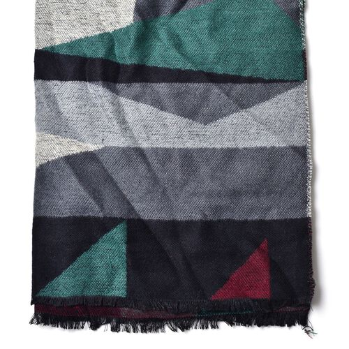 Green, Black, Grey and Red Colour Block Pattern Scarf with Fringes (Size 190x65 Cm)