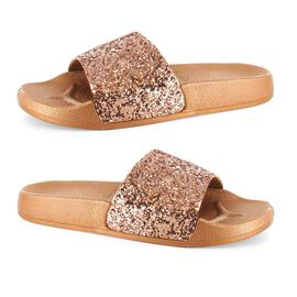 Ella Jasmine Glitter Slider Sandals in Rose Gold Colour