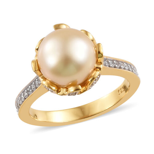 Royal Bali South Sea Golden Pearl and Zircon Solitaire Ring in Gold Platinum Plated Silver