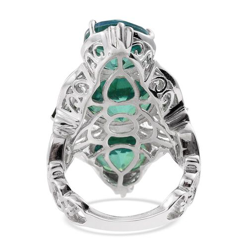 Peacock Quartz (Rnd 6.10 Ct), Russian Diopside Ring in Platinum Overlay Sterling Silver 14.750 Ct.