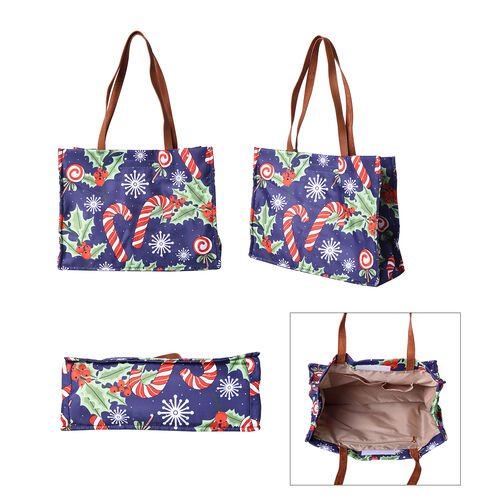 Christmas Theme - Candies and Berries Print Tote Bag with Zipper Closure (33x12.5x25cm) - Blue