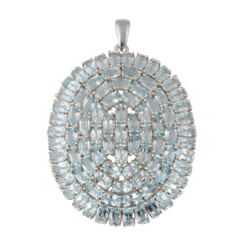 Cocktail Collection-Sky Blue Topaz Pendant in Rhodium Overlay Sterling Silver 19.98 Ct, Silver wt 9.