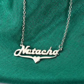 """Personalised Name Necklace Heart in Silver, Font - Harlow Solid Italic, Size 18+2"""""""