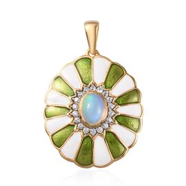 AA Ethiopian Welo Opal and Natural Cambodian Zircon Enamelled Pendant in 14K Gold Overlay Sterling S