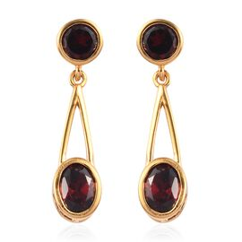1.87 Ct Round Red Rhodolite Garnet 18K Rose Gold Plated Silver Earrings