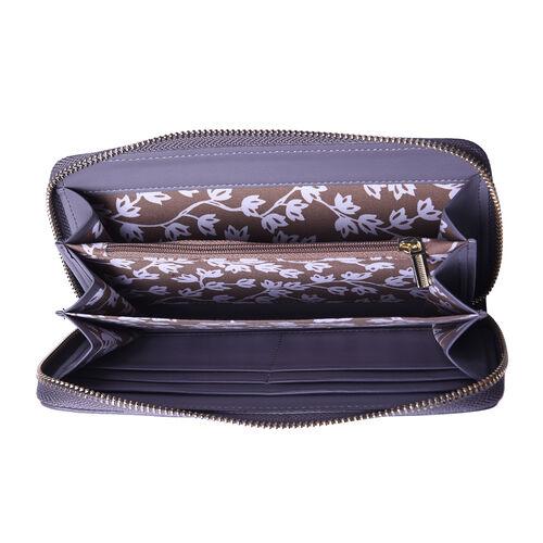 Sencillez 100% Genuine Leather RFID Protected Croc Embossed Wallet (Size 19x2x10cm) - Grey