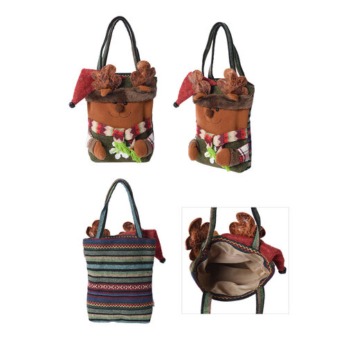 3D Bear Pattern Tote Bag (Size 23x28 Cm) - Brown and Multi