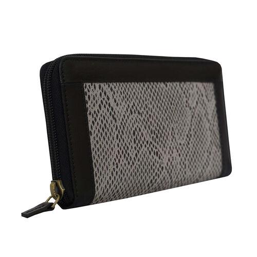 Assots London Animal Print Leather Purse (Size 21x12x2cm) - Black