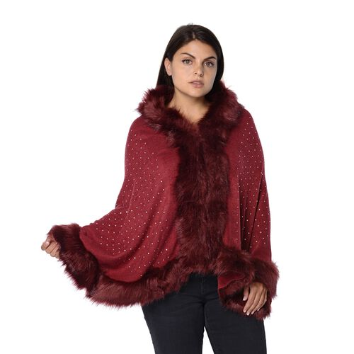 Solid Colour Crystal Blanket Wrap with Faux Fur Border (Size 56x142+7.6 Cm) - Wine