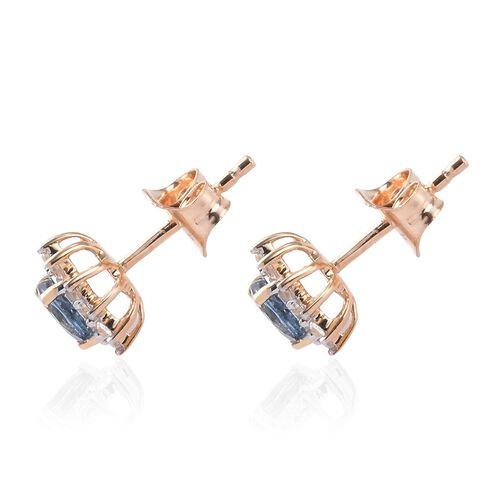 9K Yellow Gold AA Santa Maria Aquamarine and Natural Cambodian Zircon Stud Earrings (with Push Back) 0.81 Ct.