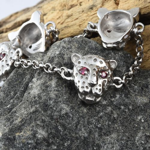 J Francis - Platinum Overlay Sterling Silver (Rnd) Leopard Head Bracelet (Size 7.5 with extender) Made with Red SWAROVSKI ZIRCONIA, Silver wt. 11.67 Gms.