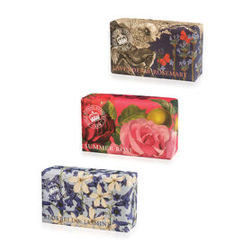 THE ENGLISH SOAP COMPANY- Kew, Royal Botanic Gardens Soaps 3 x 240g Classic Floral:-Lavender and Rosemary, Summer Rose and Bluebell and Jasmine- Estimated delivery within 5-7 working days