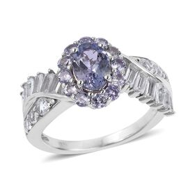 Tanzanite (Ovl), White Topaz Ring in Rhodium Plated Sterling Silver 2.190 Ct.
