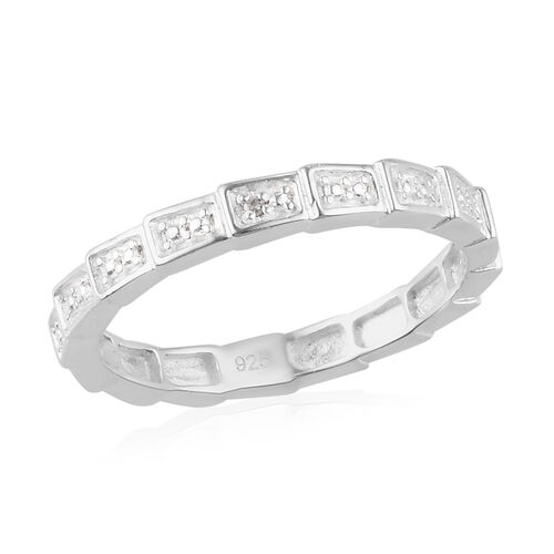 White Diamond Band Ring in Sterling Silver