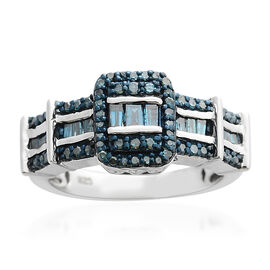 Designer Inspired - Blue Diamond (Rnd & Bgt) Cluster Ring in  Platinum Overlay Sterling Silver 0.500