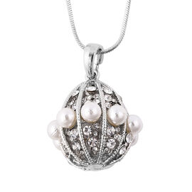 Simulated Pearl and White Austrian Crystal Boll Pendant with Chain in Silver Tone
