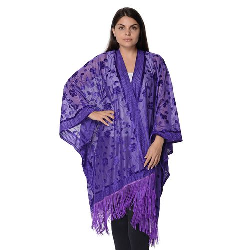 Flower and Leaf Pattern Kimono with Tassels (Free Size, L-84 Cm) - Purple