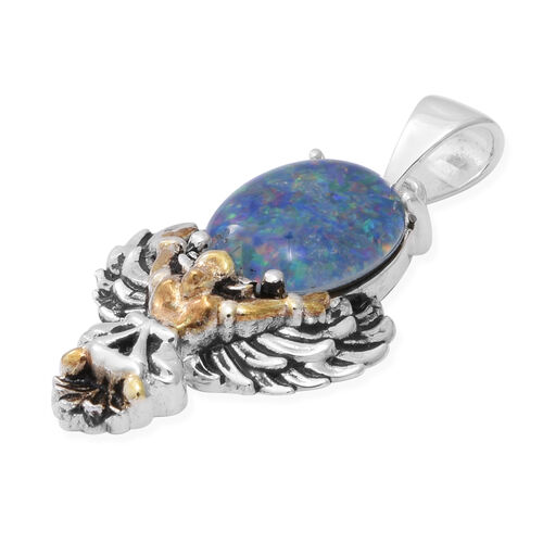 AA Australian Boulder Opal Pendant in Two Tone Overlay Sterling Silver 3.00 Ct.