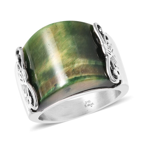 Green Tiger Eye Band Ring in Stainless Steel 25.00 Ct