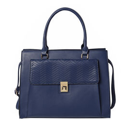 Solid Navy Satchel Bag with Flap-Closure Front Compartment and Adjustable Shoulder Strap (38x14.5x29