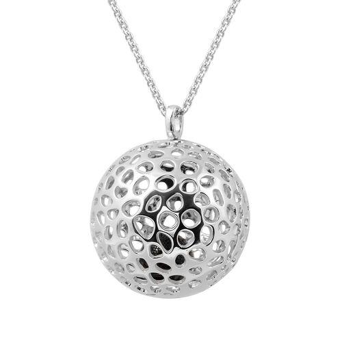 RACHEL GALLEY Natural Boi Ploi Black Spinel (Rnd) Globe Locket Pendant with Chain (Size 30) in Rhodi