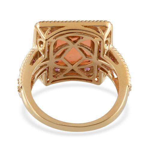 Mitiyagoda Peach Moonstone (Bgt 5.90 Ct), Rhodolite Garnet Ring in 14K Gold Overlay Sterling Silver 7.250 Ct.