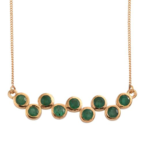 Kagem Zambian Emerald (Rnd) Necklace (Size 18) in 14K Gold Overlay Sterling Silver 1.500 Ct.