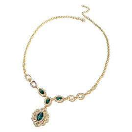 Simulated Emerald and White Austrian Crystal Necklace in Gold Tone Size 22 with 2.5 inch Extender