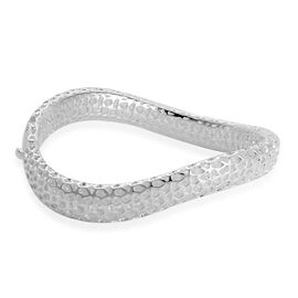 RACHEL GALLEY Rhodium Plated Sterling Silver Lattice Bangle (Size 7.5), Silver wt. 27.42 Gms.
