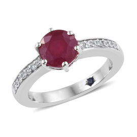 GP African Ruby (Rnd), Natural White Cambodian Zircon and Kanchanaburi Blue Sapphire Ring in Platinu