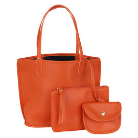 3 Piece Set - Kris Ana Reversible Tote Bag, Clutch Bag & Coin Purse - Orange and Navy