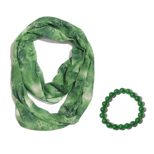 Green Colour Infinity Scarf (Size 180X50 Cm) and Green Quartzite Ball Beads Stretchable Bracelet (Size 7.5) 101.360 Ct.