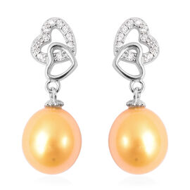 Freshwater Golden Pearl Drop Earrings (with Push Back) in Rhodium Overlay Sterling Silver
