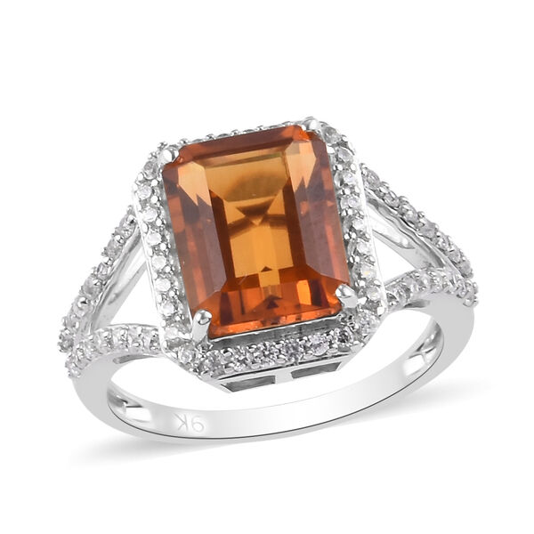 9K White Gold AA Citrine and Natural Cambodian Zircon Ring 4.00 Ct.