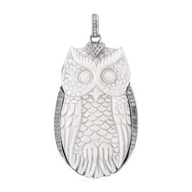 Royal Bali 1.10 Ct Carved Face and Zircon Owl Pendant in Sterling Silver 9.04 Grams