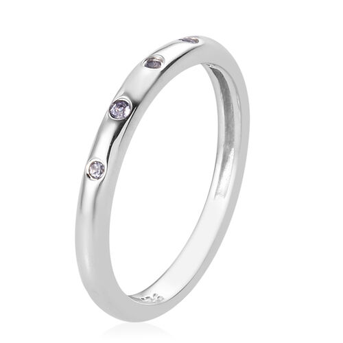 AA Tanzanite Station Band Ring in Platinum Overlay Sterling Silver 0.10 Ct.