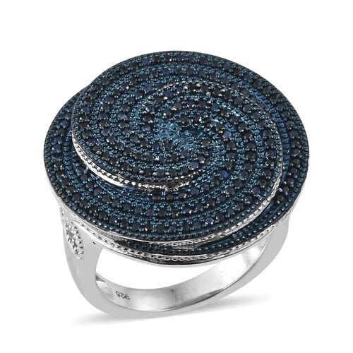 Kanchanaburi Blue Sapphire (Rnd), Natural Cambodian Zircon Spiral Ring in Platinum Overlay Sterling