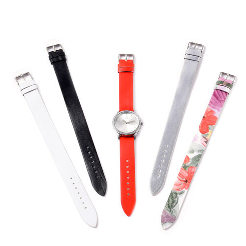 5 Piece Set - STRADA Japanese Movement White Austrian Crystal Studded Water Resistant Watch with Red