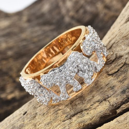 J Francis - Platinum and Yellow Gold Overlay Sterling Silver (Rnd) Panther Band Ring Made with SWAROVSKI ZIRCONIA, Silver wt 7.12 Gms. Number of Swarovski 127