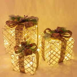Set of 3 Rattan LED Christmas Gift Box with Brown Bow (Size 20x20x24cm, 15x15x18cm, 25x25x30cm)