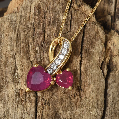 2.25 Ct African Ruby and White Topaz Heart Pendant with Chain in Gold Plated Silver