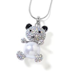 Simulated Pearl (Rnd), Magic Colour Austrian Crystal and Black Austrian Crystal Teddy Bear Pendant with Chain (Size 29 and 2.5 inch Extender) in Silver Tone