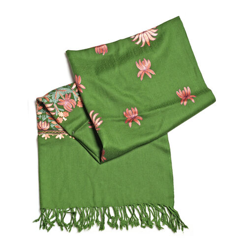 100% Merino Wool Black, Pink and Multi Colour Flower and Leaves Embroidered Scarf (Size 190x70 Cm)