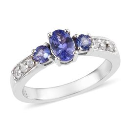 Tanzanite (Ovl and Rnd), Natural Cambodian Zircon Ring in Platinum Overlay Sterling Silver 1.00 Ct.