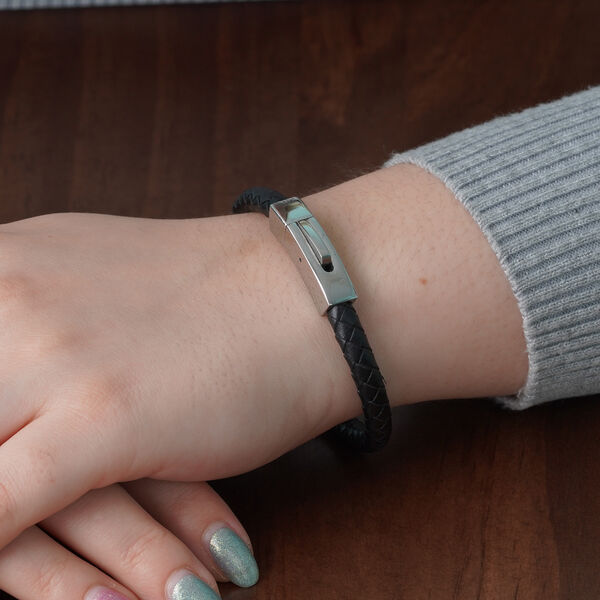 "Personalised Engravable Black Leather Bracelet 8"", Steel"