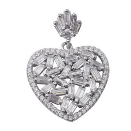 ELANZA Simulated Diamond (Bgt) Heart Pendant in Rhodium Overlay Sterling Silver