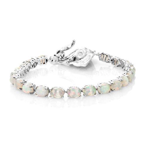 Designer Inspired-AA Ethiopian Welo Opal (Ovl), Kagem Zambian Emerald Bracelet (Size 7.5) in Platinum Overlay Sterling Silver 11.000 Ct, Silver wt 12.60 Gms.