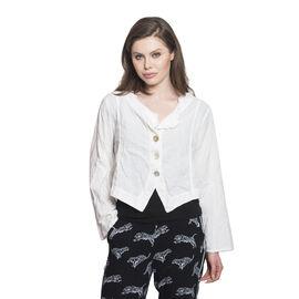 100% Cotton White Colour Slub Short Jacket (Free Size)