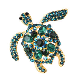 Simulated Emerald and Multi Colour Austrian Turtle Crystal Brooch in Gold Tone